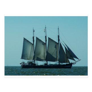 Three masted sailing ship postcard