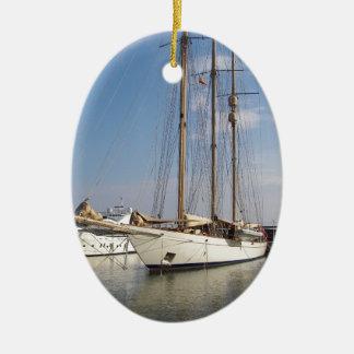 Three Masted Yacht Ceramic Ornament