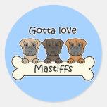 Three Mastiffs Classic Round Sticker