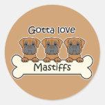 Three Mastiffs Round Stickers