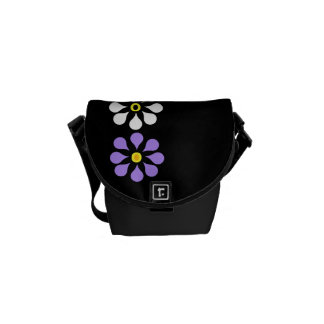Three Mauve One White Flower Mini Messenger Bag