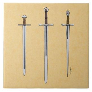 Three Medieval Swords 2016 Ceramic Tile