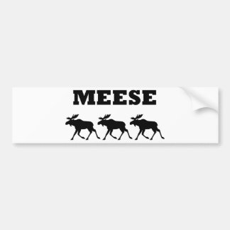 Three Meese Funny Car Bumper Sticker