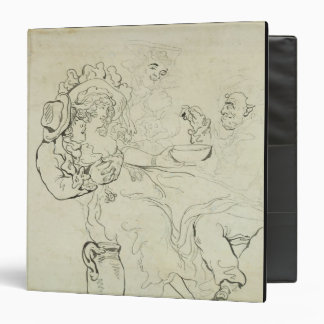 Three men and a woman drinking (pen & ink and w/c vinyl binder
