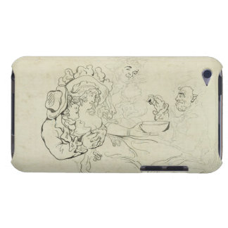 Three men and a woman drinking (pen & ink and w/c Case-Mate iPod touch case
