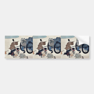 Three men and two girls with a two wheeled oxcart car bumper sticker