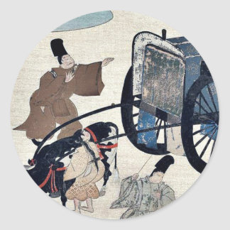 Three men and two girls with a two wheeled oxcart classic round sticker