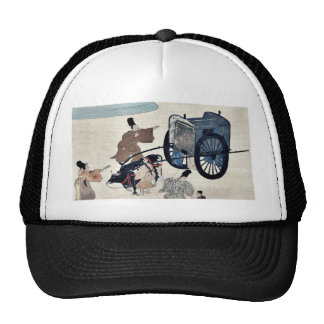 Three men and two girls with a two wheeled oxcart mesh hats