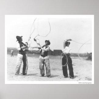 Three men lassoing. poster