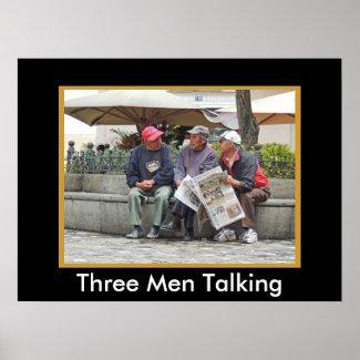 Three Men Talking in Cuenca w Faux Mat