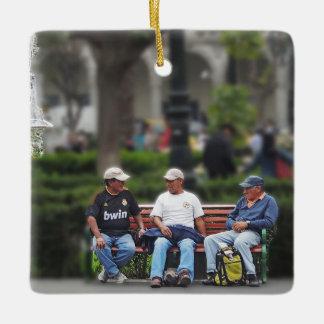 Three Men Talking in the Plaza - Arequipa Ceramic Ornament