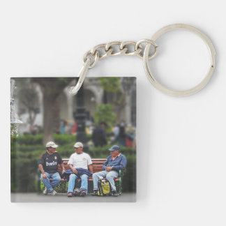 Three Men Talking in the Plaza - Arequipa Keychain