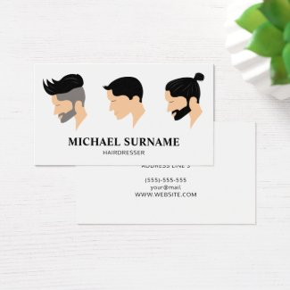 Three Men's Hair Styles Drawing Hairdresser Barber Business Card