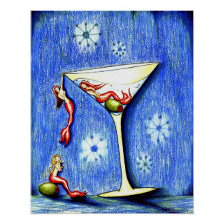 Three Mermaid Martini Poster