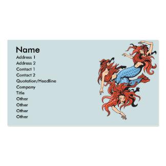 three mermaids vector cartoon art business card