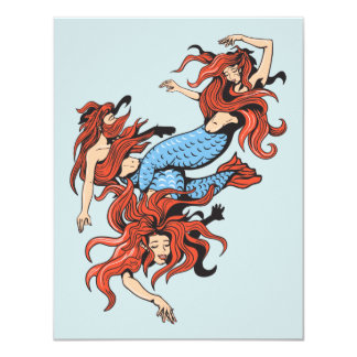 three mermaids vector cartoon art card