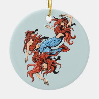 three mermaids vector cartoon art Double-Sided ceramic round christmas ornament