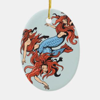 three mermaids vector cartoon art christmas tree ornament