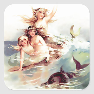 Three Mermaids with Dolphin Square Sticker