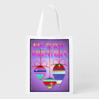 Three Merry Christmas Ornaments- Grocery Bag
