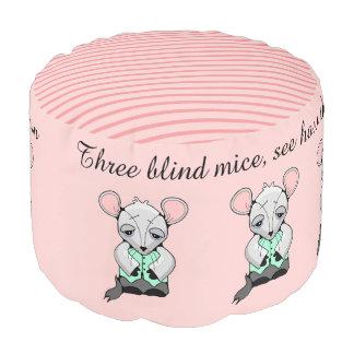 Three Mice Pink Stripe Round Pouf
