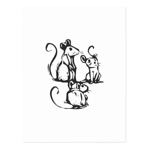 Three Mice Postcard