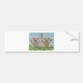 Three Mice Stand United Together Family Friend Bumper Sticker