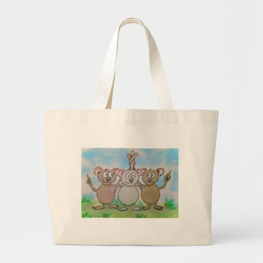 Three Mice Stand United Together Family Friend Large Tote Bag