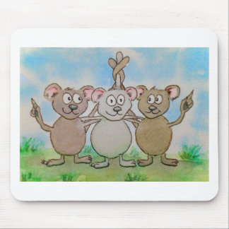 Three Mice Stand United Together Family Friend Mouse Pad