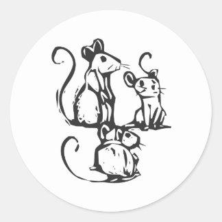 Three Mice Round Sticker