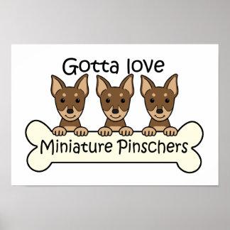 Three Miniature Pinschers Print