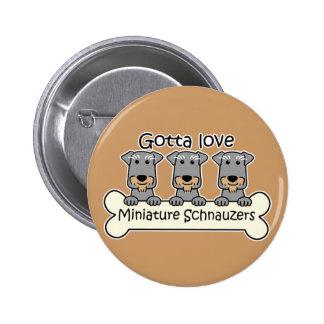 Three Miniature Schnauzers Buttons