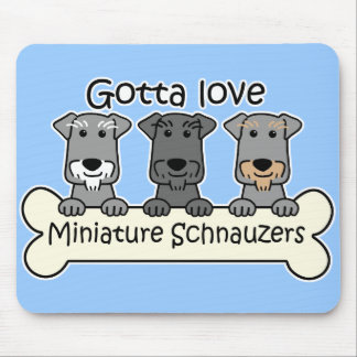 Three Miniature Schnauzers Mouse Pad