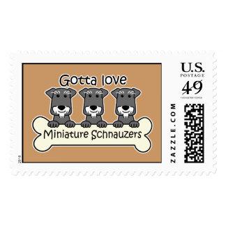 Three Miniature Schnauzers Postage
