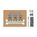Three Miniature Schnauzers Postage Stamps