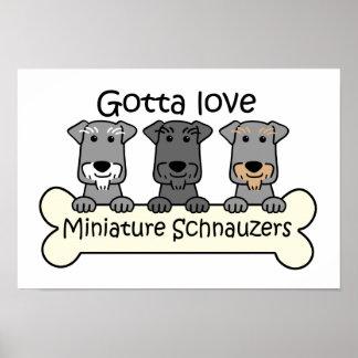 Three Miniature Schnauzers Poster