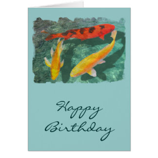 Three Mixed Koi in a Pool Greeting Card