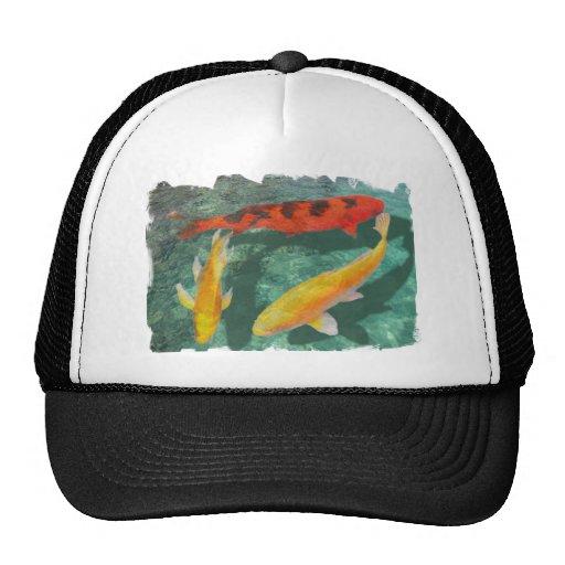 Three Mixed Koi in a Pool Trucker Hats