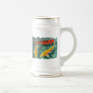 Three Mixed Koi in a Pool 18 Oz Beer Stein