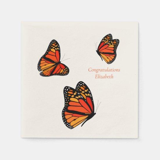 three Monarch Butterflies custom message Napkins