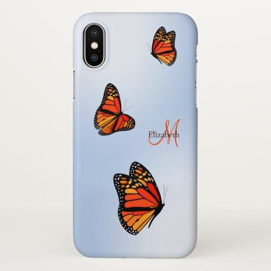 three monarch butterflies in flight monogrammed iPhone x case