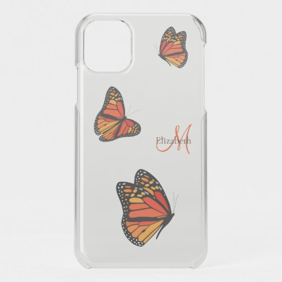 three monarch butterflies in flight monogrammed iPhone 11 case