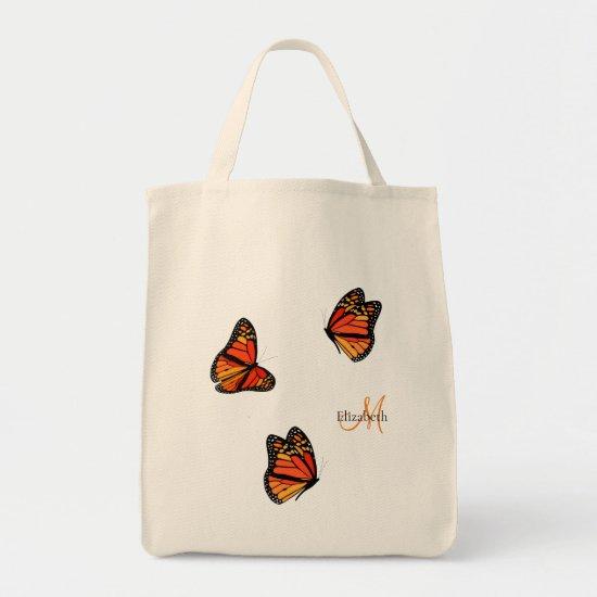 three Monarch Butterflies monogrammed Tote Bag