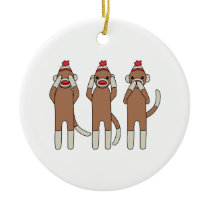 Three Monkeys Ceramic Ornament