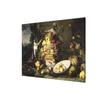 Three Monkeys Stealing Fruit (oil on canvas) Canvas Print