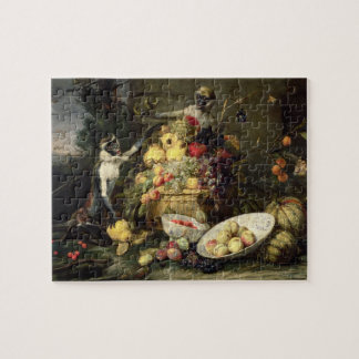 Three Monkeys Stealing Fruit (oil on canvas) Jigsaw Puzzle