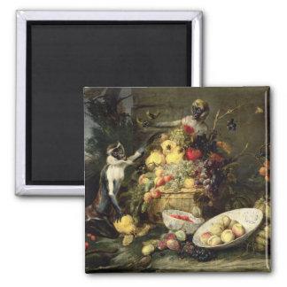 Three Monkeys Stealing Fruit (oil on canvas) Magnet