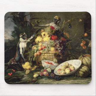 Three Monkeys Stealing Fruit (oil on canvas) Mouse Pad