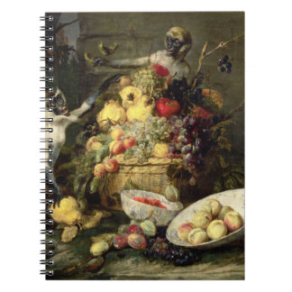 Three Monkeys Stealing Fruit (oil on canvas) Notebook