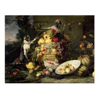 Three Monkeys Stealing Fruit (oil on canvas) Postcard